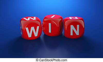 Win dices - 3d illustration of red win dices on blue...