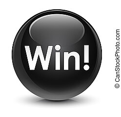 Win glassy black round button