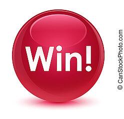 Win glassy pink round button
