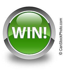 Win glossy soft green round button