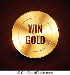 win gold label beautiful vector design