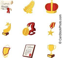 Win icons set, cartoon style