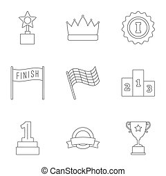 Win icons set, outline style