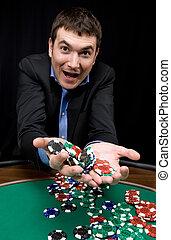 Win in the casino - Fantastic win of stylish man in the ...