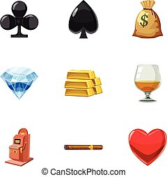 Win in the casino icons set, cartoon style