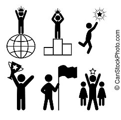 Win Leader People Flat Icons Pictogram Isolated on White