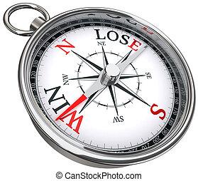 win lose concept compass