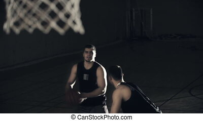 Win-Lose Game - Slow motion of basketball player scoring the...