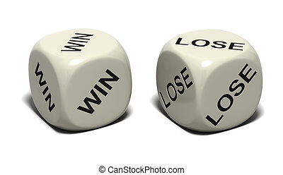 WIN LOSE - Two dice with words WIN and LOSE, isolated on ...