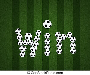 Win message on soccer field center and ball top view background