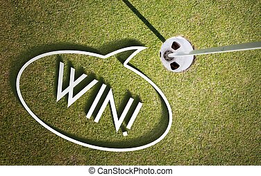 Win on Putting green Golf course design background