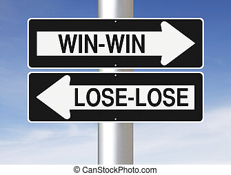 Win or Lose - Modified road sign indicating Win-Win and...