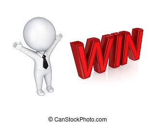 win., persona, 3d, parola, piccolo
