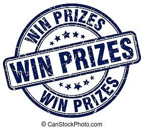 win prizes blue grunge round vintage rubber stamp