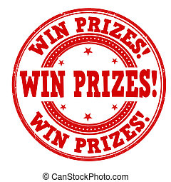 Win prizes stamp - Win prizes grunge rubber stamp on white,...