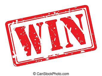 Win red stamp text on white