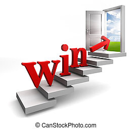 win red word and arrow on stair up to open conceptual door...