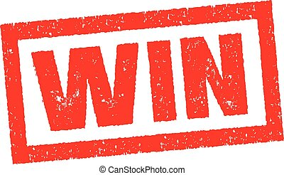 WIN rubber stamp banner in red