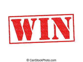 WIN Rubber Stamp over a white background.
