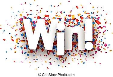 Win sign with colour confetti. paper illustration.