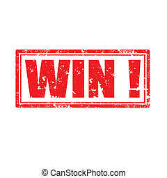 Win!-stamp - Grunge rubber stamp with word Win,vector...