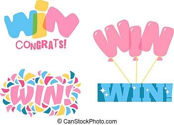 Win text vector illustration - Win sign with colour confetti...