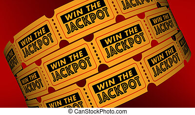 Win the Jackpot Contest Raffle Tickets 3d Illustration
