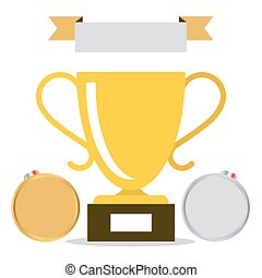 Win - Trophy Cup Icon with Medals Isolated on White Background Vector