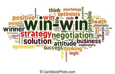 win-win, 単語, 解決, タグ, 白い雲