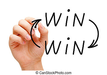 Win-Win Arrows Concept - Hand drawing Win Win situation...