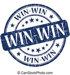win-win, azul, selo, vindima, borracha, grungy, redondo