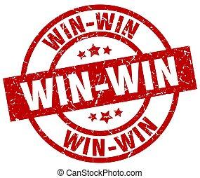 win-win, bélyeg, grunge, kerek, piros