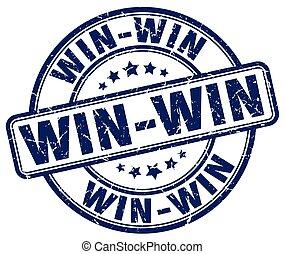 win-win, blauwe , grunge, postzegel, ouderwetse , rubber, ronde