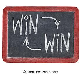 win-win, conceito, ligado, quadro-negro