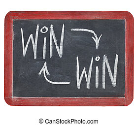 win-win concept on blackboard - win-win strategy concept -...