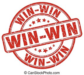 win-win, grunge, bélyeg, szüret, gumi, kerek, piros