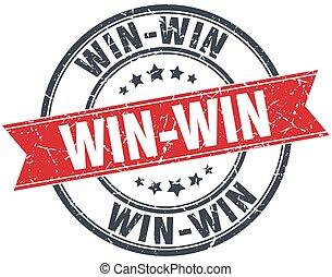 win-win, grunge, postzegel, ouderwetse , lint, ronde, rood