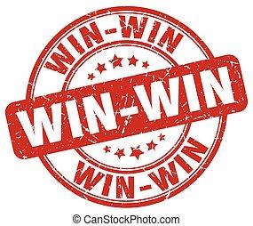 win-win, grunge, postzegel, ouderwetse , rubber, ronde, rood