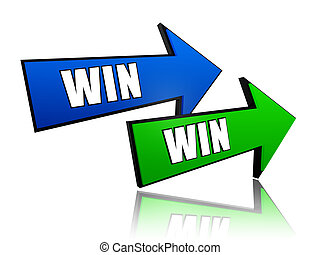 win win in arrows - win win in 3d colorful arrows with text