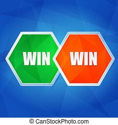 win win in hexagons, flat design