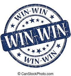 win-win, kék, kerek, grungy, szüret, gumi bélyegző