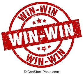 win-win, kerek, piros grunge, bélyeg