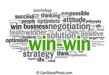 win-win, palabra, solución, etiqueta, nube blanca