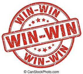 win-win, piros grunge, kerek, szüret, gumi bélyegző