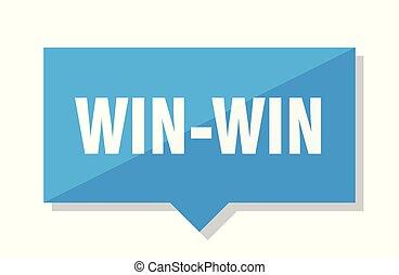 win-win price tag - win-win blue square price tag