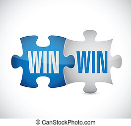 win win puzzle illustration design over a white background