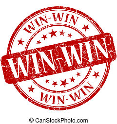 Win-win red round grungy vintage rubber stamp