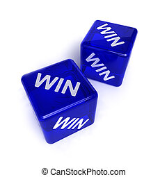 Win-Win Situation - Two blue, semi-transparent dice with the...