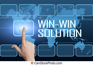 Win-Win Solution concept with interface and world map on...