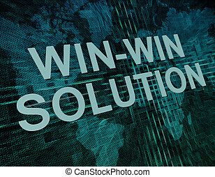 Win-Win Solution text concept on green digital world map...